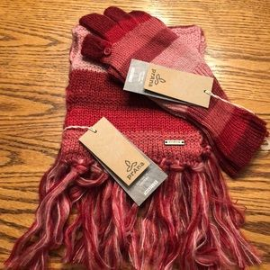 NWT Prana scarf & glove set. Shades of pink & red